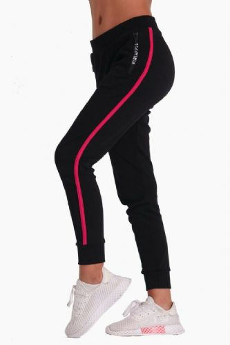 PINEAPPLE DANCEWEAR Girls Dance Stripe Joggers Trackpants Black Berry Red Stripe